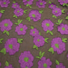 Purple And Brown Floral Textured Embroidered Organza Fabric