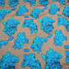 Blue Floral in a Black Background Textured Brocade Fabric - Rex Fabrics