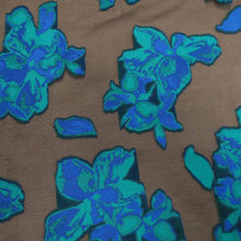 Load image into Gallery viewer, Floral Textured Blue And Brown Brocade Fabric
