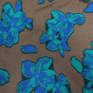 Floral Textured Blue And Brown Brocade Fabric