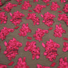 Red And Black Floral Textured Embroidered Organza Fabric