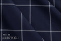 Ariston Dynamic & Light Collection Blue Windowpane Suiting - Rex Fabrics