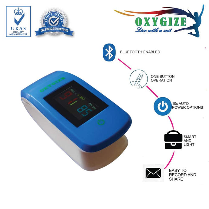 Blue Finger Pulse Oximeter with USB and Software