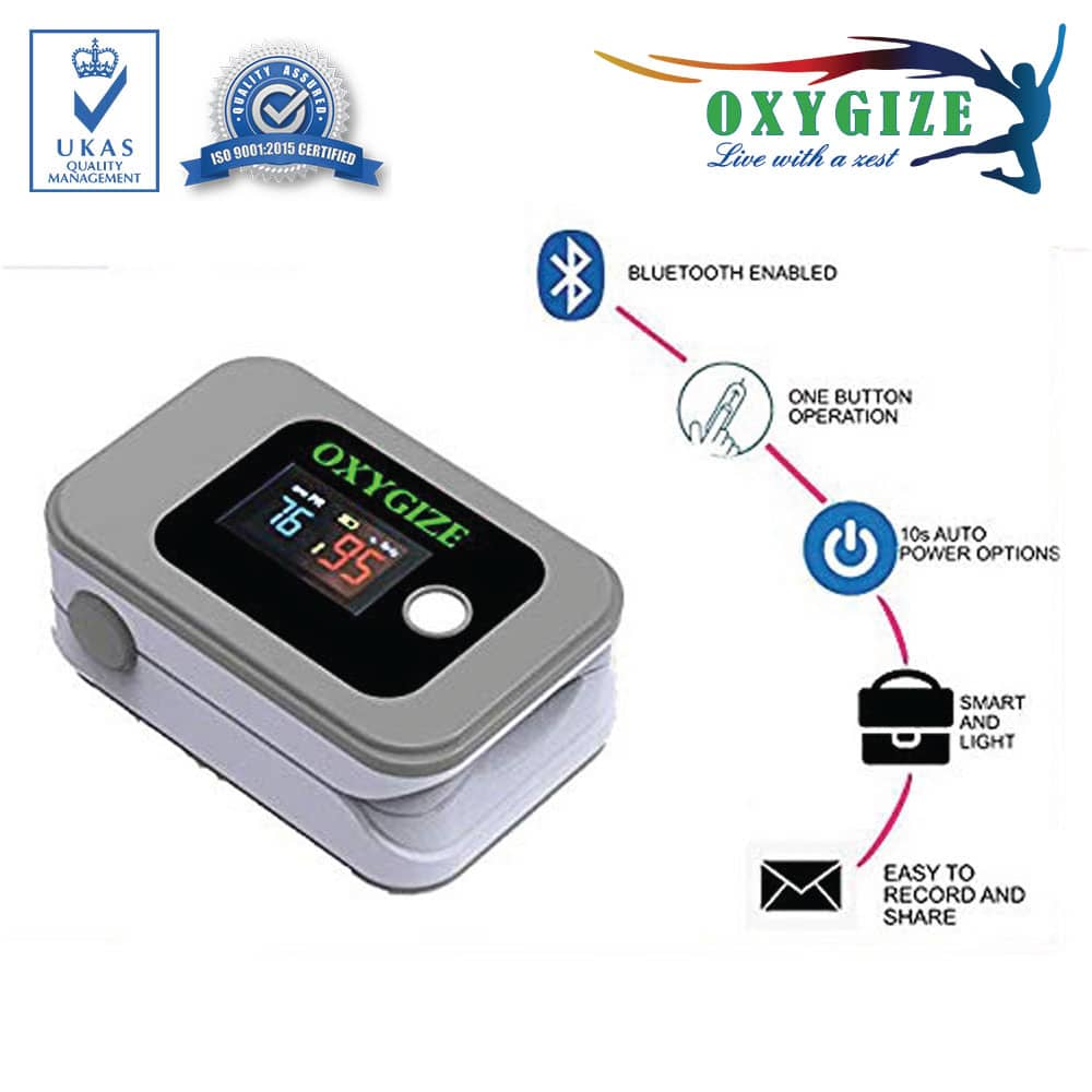 Wireless Fingertip Pulse Oximeter, 2 Way Display , Bluetooth Communicating Smartphone (iOS & Android)