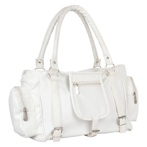 White  PU Handbag With 2 Compartment & 2 Inner Pocket