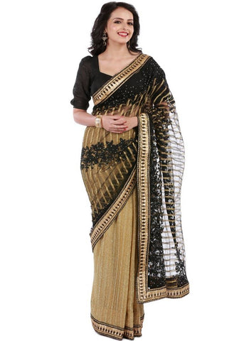 Multicoloured Net Embroidered Saree with Blouse piece