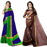 Combo Of 2 Multicoloured cotton Saree with blouse