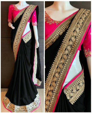 Multicoloured Chiffon Saree With Blouse Piece