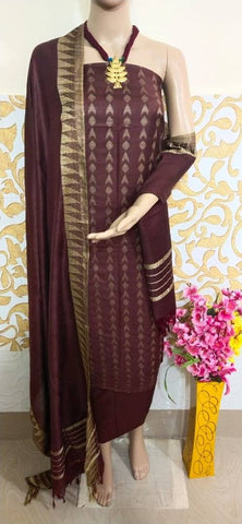 Stylish Cotton Slub Dress Material With Dupatta Set
