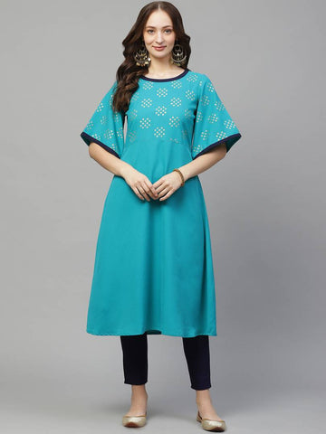 Trendy Blue Poly Rayon Foil Printed Flared Kurta With Pant Set For Women