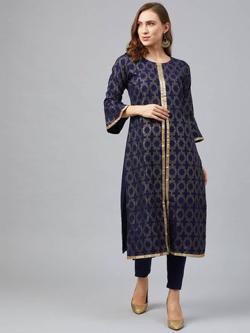 Trendy Navy Blue Poly Rayon Foil Printed Straight Kurta With Pant Set For Women