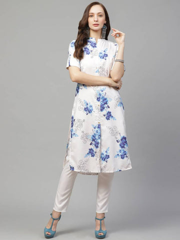 Trendy White Rayon Digital Printed Straight Kurta With Pant Set For Women