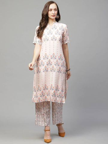Trendy Beige Rayon Digital Printed Straight Kurta With Palazzo Set For Women