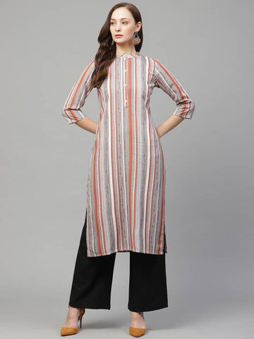 Trendy Multicoloured Rayon Digital Printed Straight Kurta With Palazzo Set For Women
