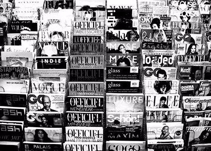Magazine Rack, Black & White | Rectangle
