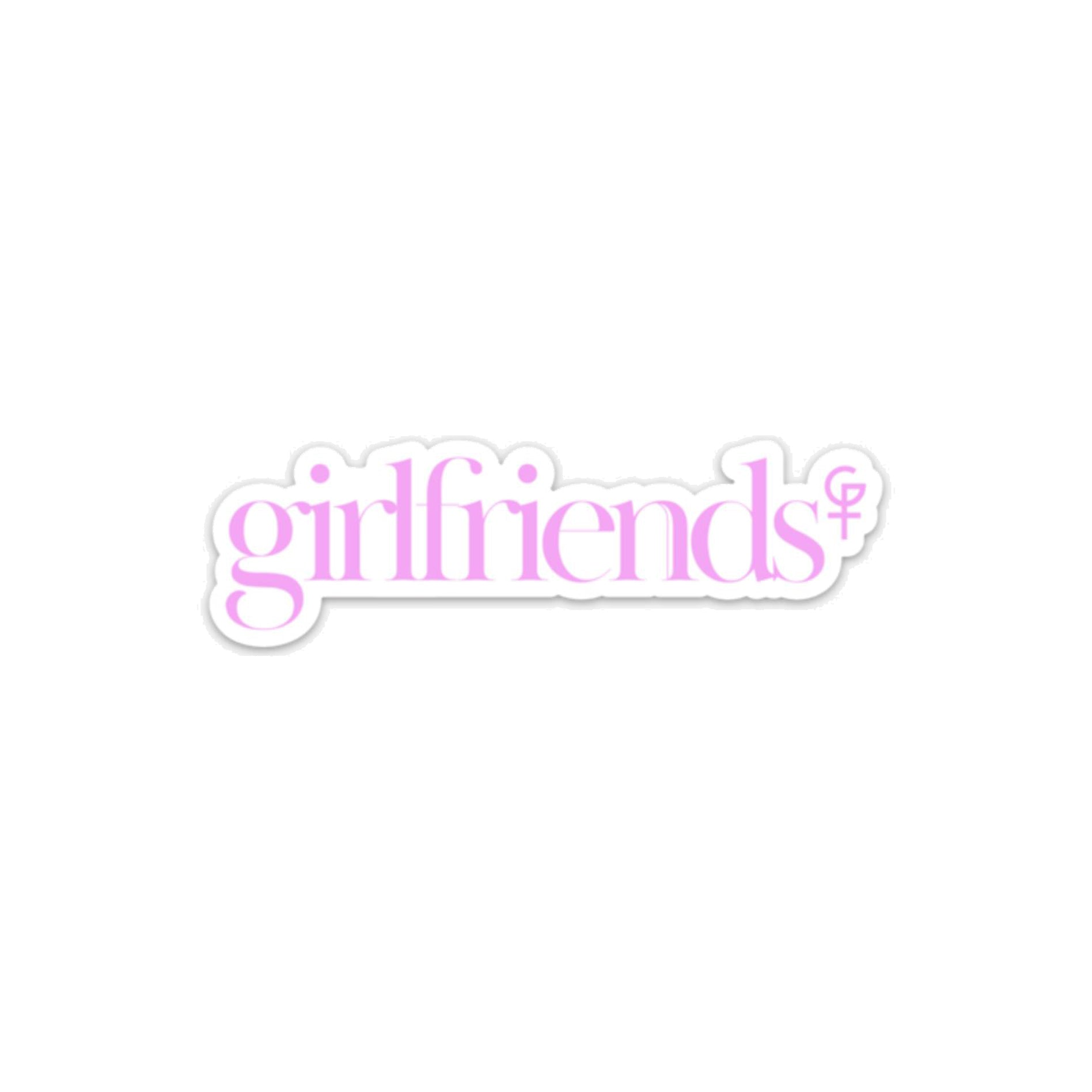 "Girlfriends Pink Font Die Cut Sticker - 5"" x 1.5"""