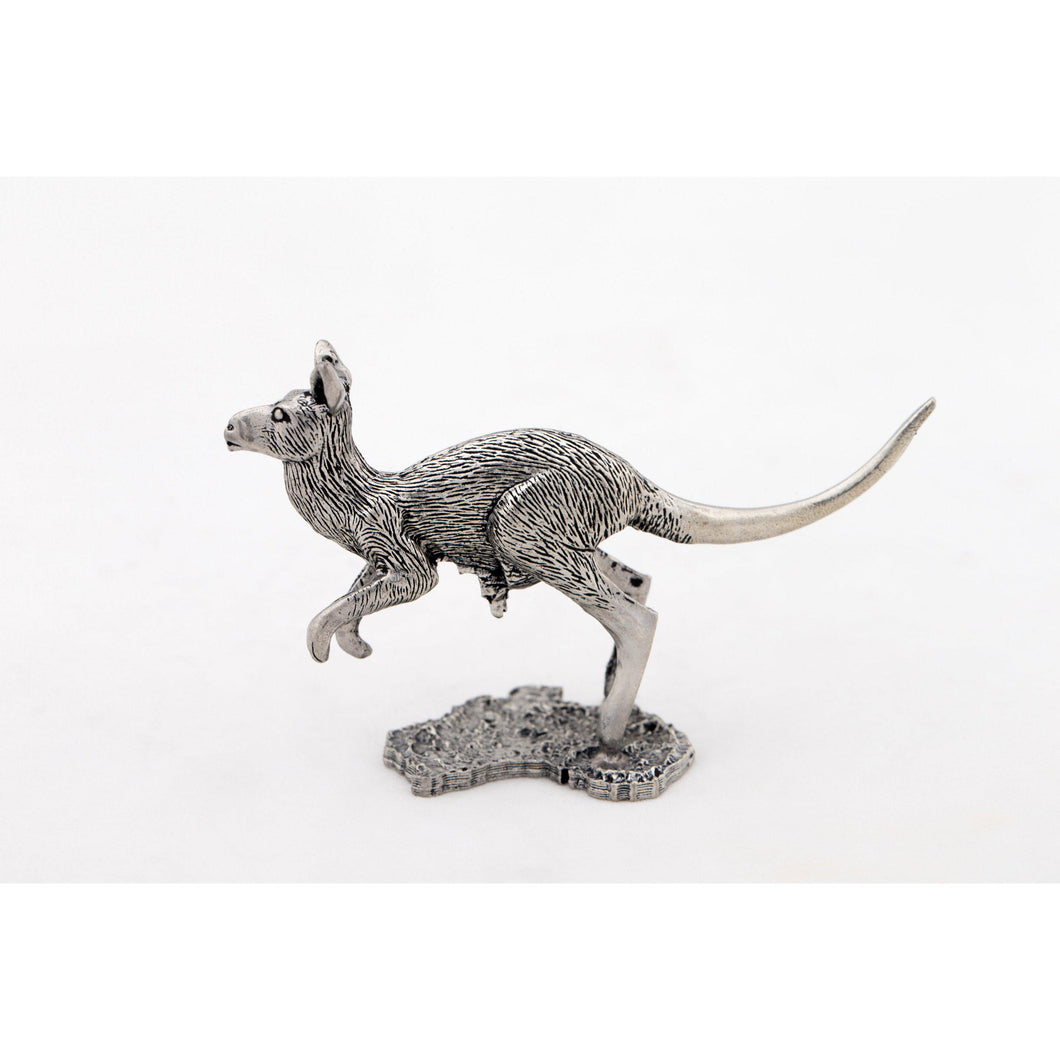 BP113 Pewter Kangaroo Medium on map of Australia-Buckingham Pewter