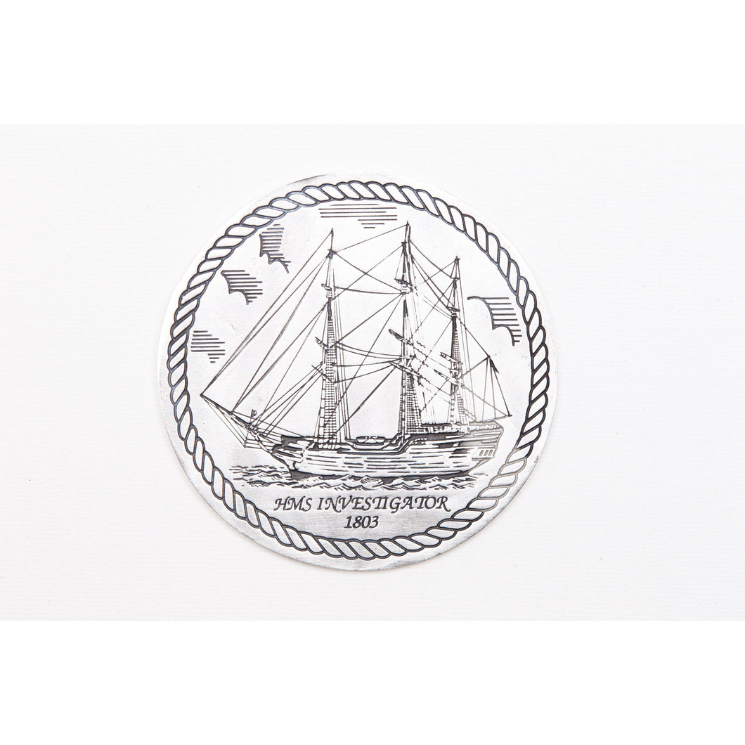 Pewter Shipwrecks - HMS Investigator 1803 Coaster / Plate-Buckingham Pewter