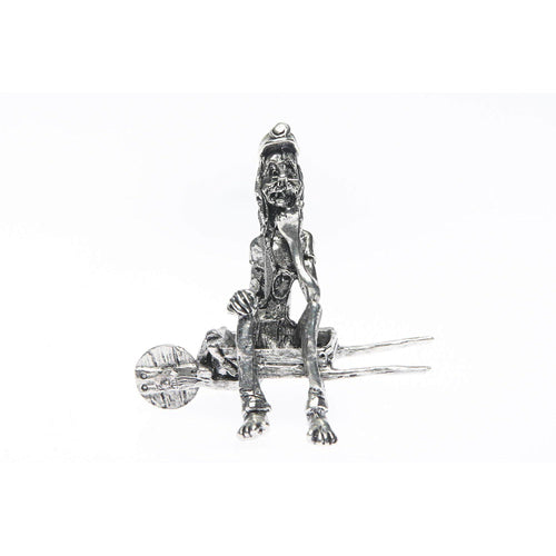 BP003 Pewter Miner Comical sitting on wheelbarrow-Buckingham Pewter