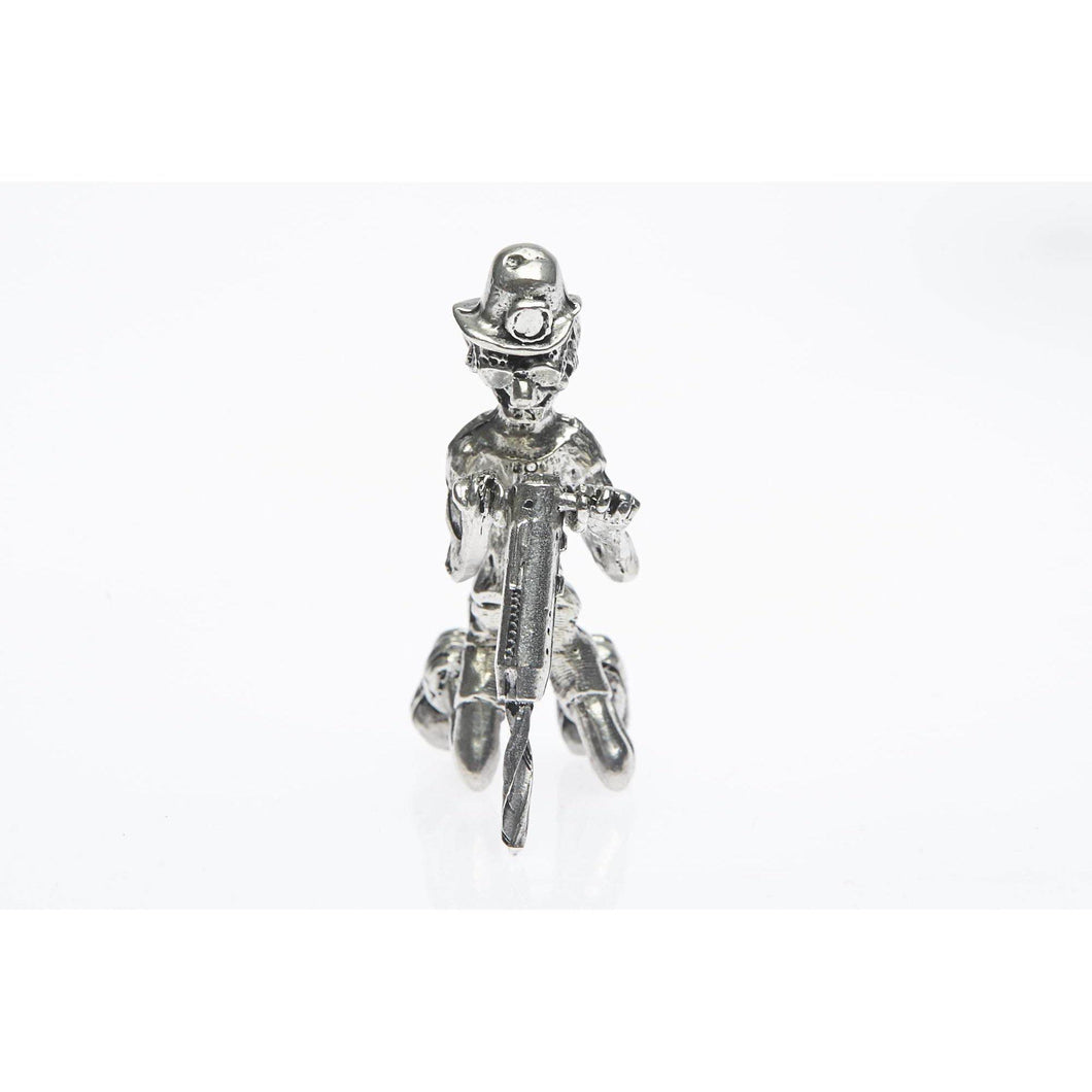 BP007 Pewter Miner Comical Driller figurine-Buckingham Pewter