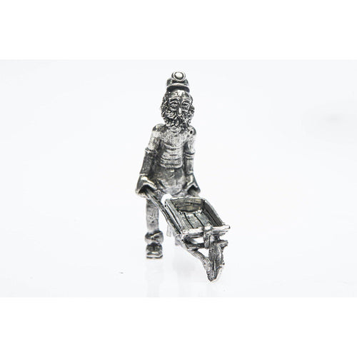 BP002 Pewter Miner Comical pushing wheelbarrow-Buckingham Pewter