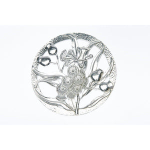 Pewter Pot Pouri Lid Gumnut & Leaf Design-Buckingham Pewter