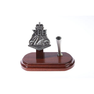 10th Light Horse Regiment Single Desk Set & Pen Holder-Buckingham Pewter