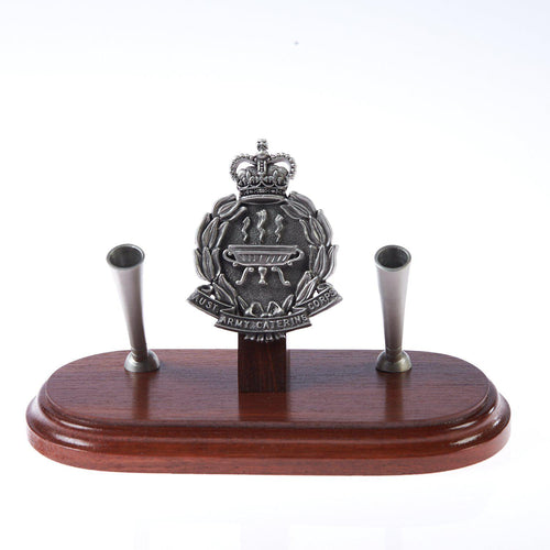 The Australian Army Catering Corp Double Desk Set & Pen Holder (AACC)-Buckingham Pewter