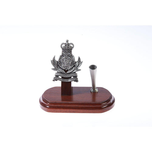 The Australian Intelligence Corp Single Desk Set & Pen Holder (AUSTINT)-Buckingham Pewter