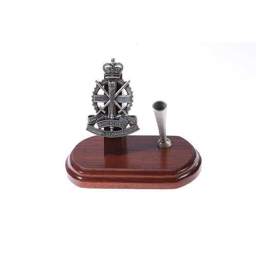 Army Apprentice School Single Desk Set & Pen Holder-Buckingham Pewter