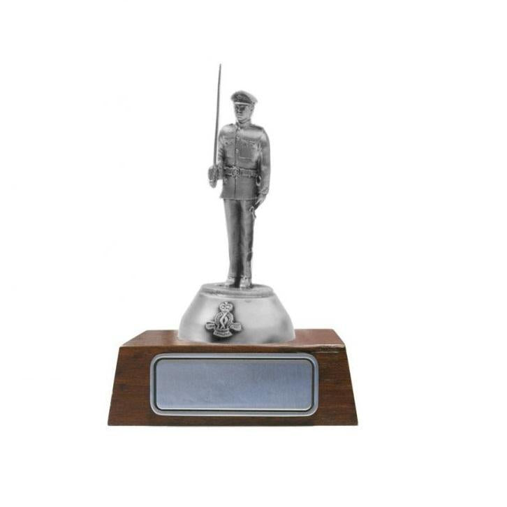 B109 Royal Military College Duntroon Pewter Figure Holding Sword - Buckingham Pewter