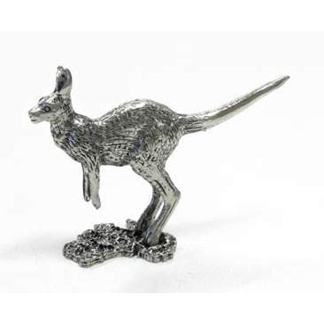 BP108 Pewter Kangaroo Small on map of Australia-Buckingham Pewter