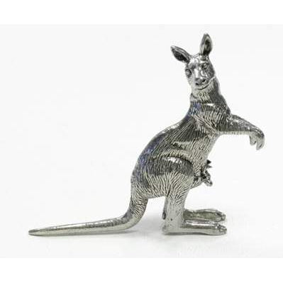BP109 Pewter Kangaroo upright with Joey-Buckingham Pewter