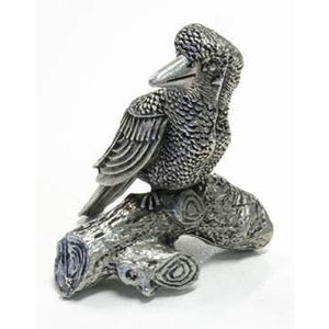 BP144 Pewter Kookaburra on log-Buckingham Pewter