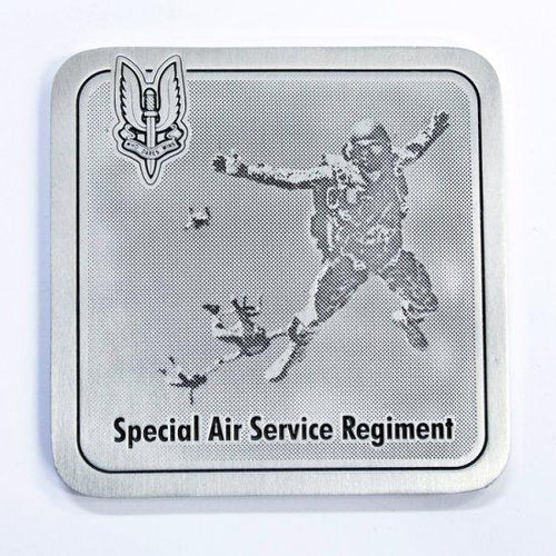 The Special Air Services SAS Regiment Coaster - Paratrooper (SASR) - Buckingham Pewter