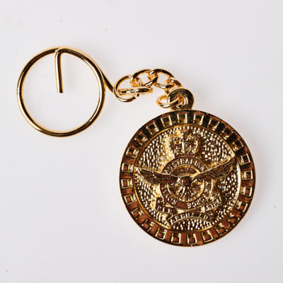 The Royal Australian Airforce Pewter Keyring GOLD PLATED