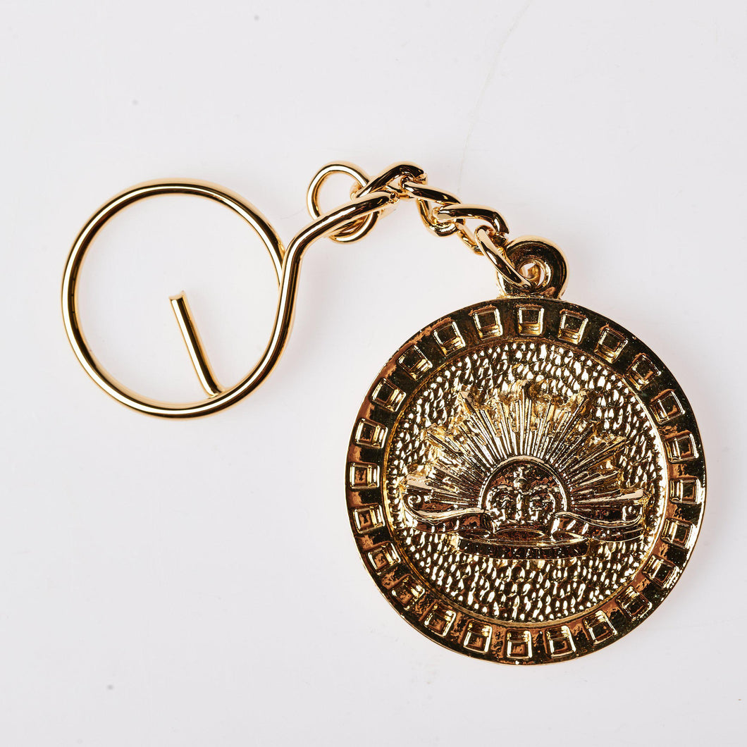 The Australian Army Rising Sun Pewter Keyring GOLD PLATED