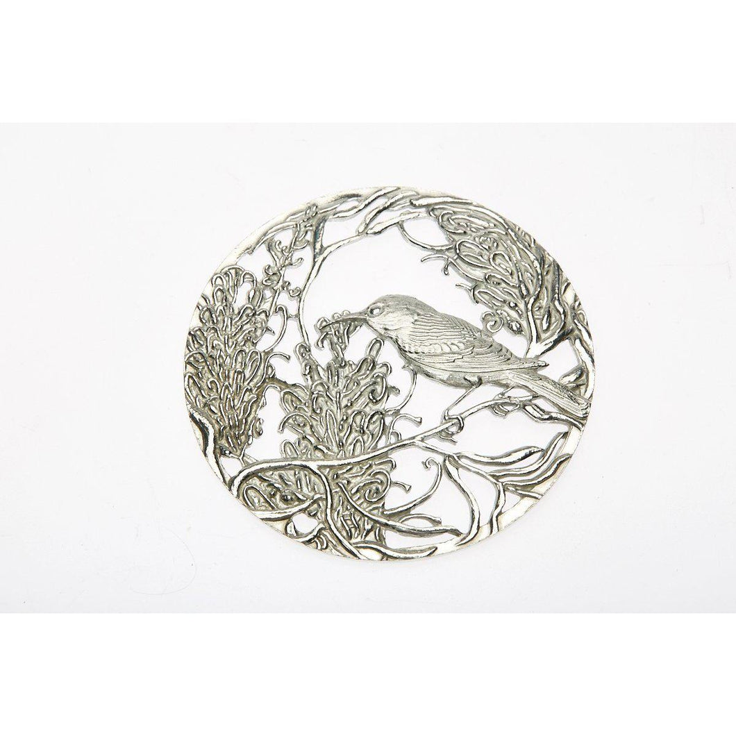 Pewter Pot Pouri Lid Gravillia & Bird design-Buckingham Pewter