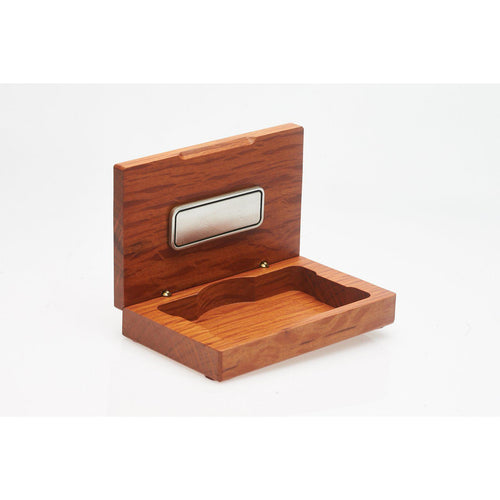 Wooden Business Card Holder with Badge & Engrave Tag-Buckingham Pewter