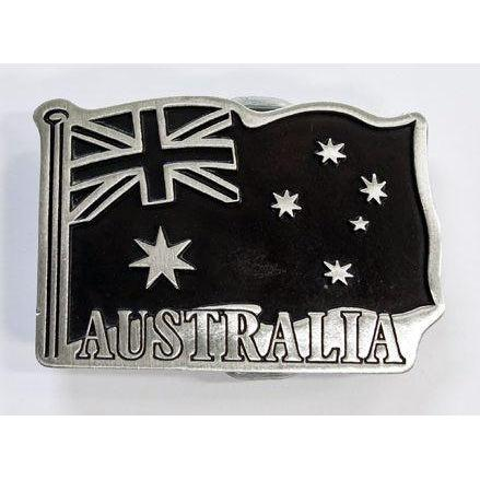 Australian Flag Pewter Belt Buckle - Large - Buckingham Pewter