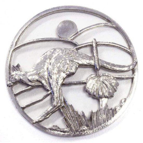 Pewter Pot Pouri Lid Kangaroo Design-Buckingham Pewter