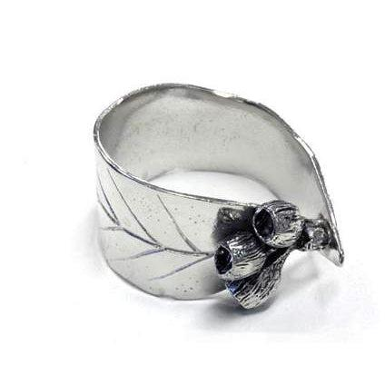Pewter Serviette Rings Gum Leaf design with Gumnuts only-Buckingham Pewter