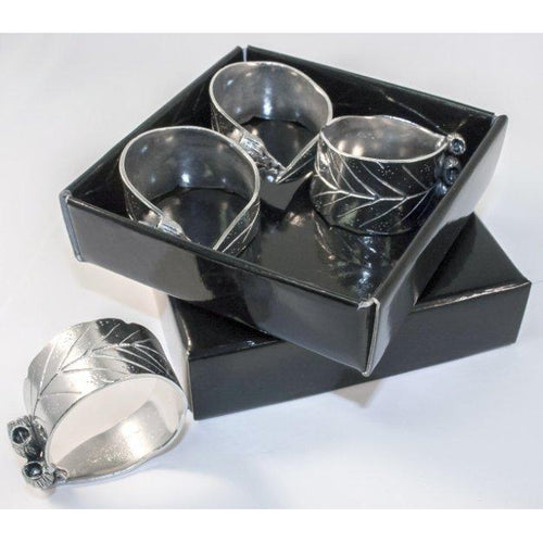 Pewter Serviette Rings SET OF 4 Gum Leaf design in box-Buckingham Pewter