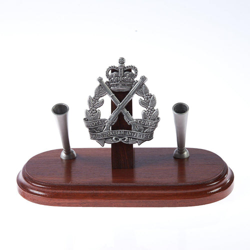 The Royal Australian Infantry Corp Double Desk Set & Pen Holder (RA INF)-Buckingham Pewter