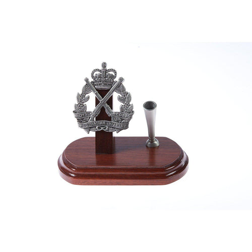 The Royal Australian Infantry Corp Single Desk Set & Pen Holder (RA INF)-Buckingham Pewter