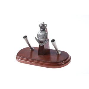 The Royal Australian Survey Corps Double Desk Set & Pen Holder (RA Svy)-Buckingham Pewter