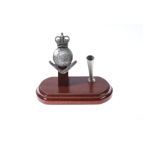 The Royal Australian Survey Corps Single Desk Set & Pen Holder (RA Svy)-Buckingham Pewter