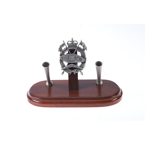 The Royal Australian Armoured Corps Double Desk Set & Pen Holder (RAAC)-Buckingham Pewter