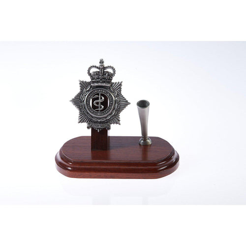The Royal Australian Army Medical Corps Single Desk Set & Pen Holder (RAAMC)-Buckingham Pewter