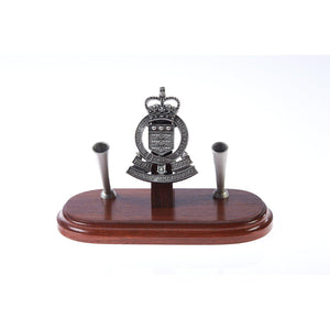 The Royal Australian Army Ordnance Corps Double Desk Set & Pen Holder (RAAOC)-Buckingham Pewter